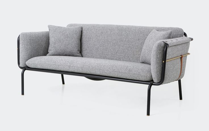 Valet Love Seat | Stellar Works | Designed by David Rockwell | Code: VA-S421 Materials: Powder coated steel frame. Fabric upholstery. Brass plated stainless steel. Leather Dimensions: W1667 x D790 x H664mm Seating height: 343mm