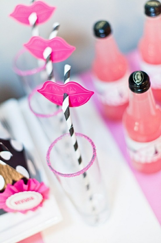 Pink lips black stripey straws - Barbie Party  Put lips on some and mustaches on some!