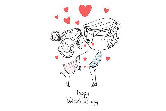 Valentine S Day Boy And Girl Kissin Valentines Day Drawing Valentines Illustration Valentine Doodle