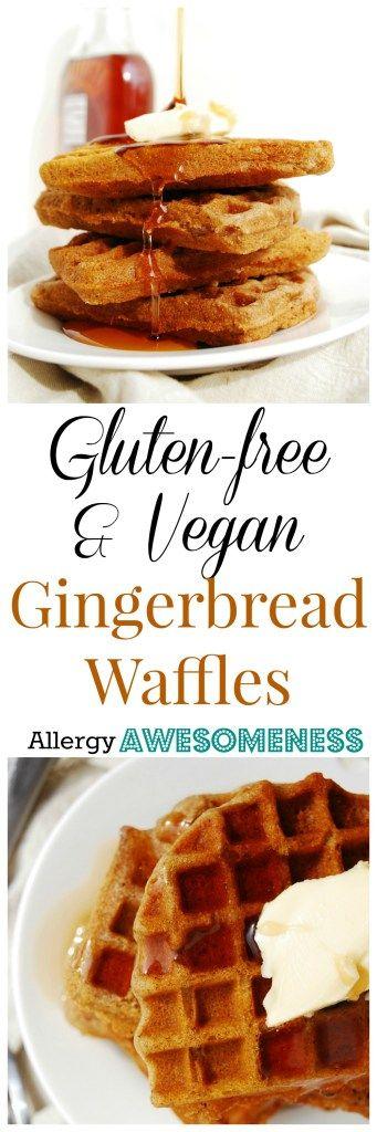 Gluten-free Vegan Gingerbread Waffles (Gluten, dairy, egg, soy, peanut & tree nut free; top-8-free) Breakfast recipe by AllergyAwesomeness.com  |gluten-free waffles| |allergy friendly waffles| |gingerbread waffles| |vegan waffles| |dairy free waffles| |egg free waffles| |allergy friendly breakfast| |allergy friendly recipes| |top 8 free recipes| |top 8 free breakfast|