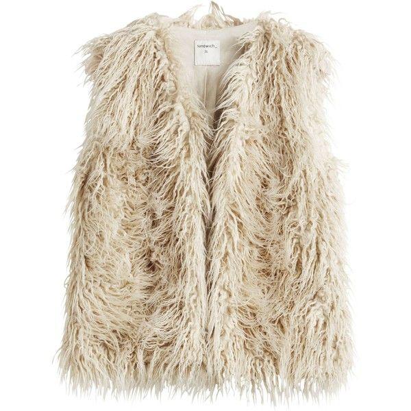 Sandwich Folk Mongolian fur gilet ($165) ❤ liked on Polyvore featuring outerwear, vests, beige, women, beige vest, fur vests, fur gilet, fur waistcoat and brown fur vest