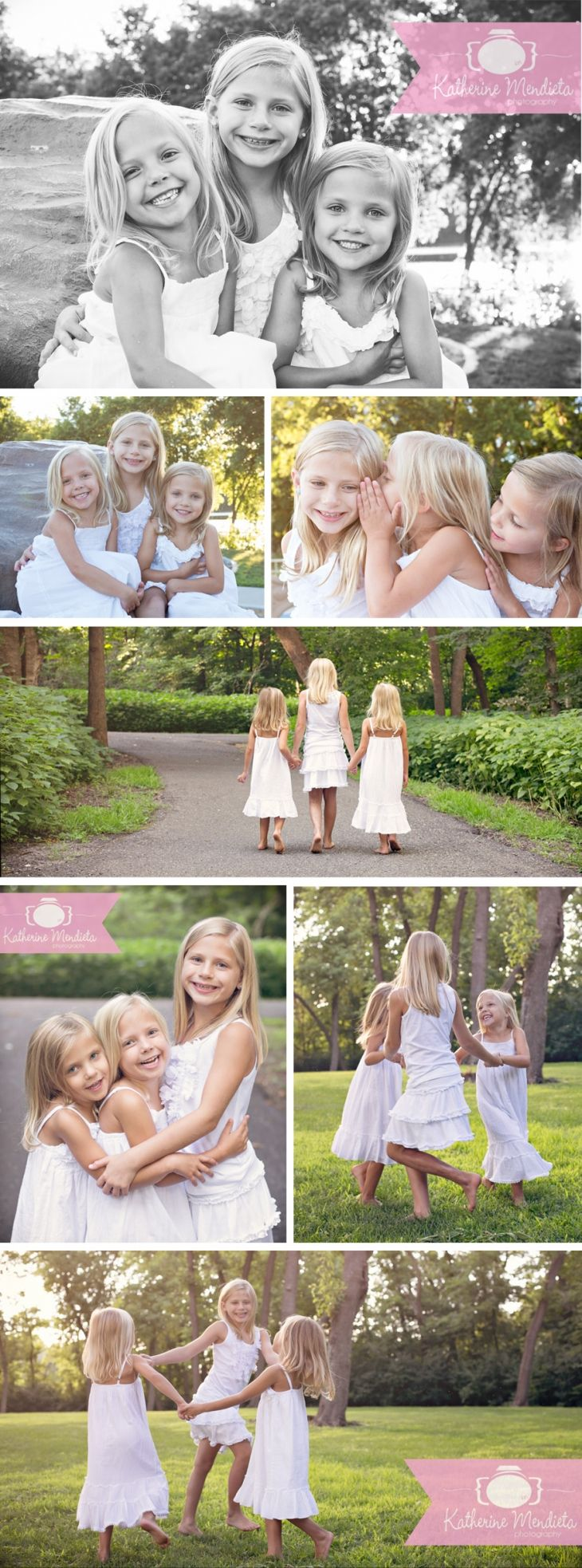 Three adorable blonde sisters in white dresses for their photo session in Eden Prarie, Minnesota. Telling each other secrets, laughing, and playing ring around the rosey » Katherine Mendieta Photography
