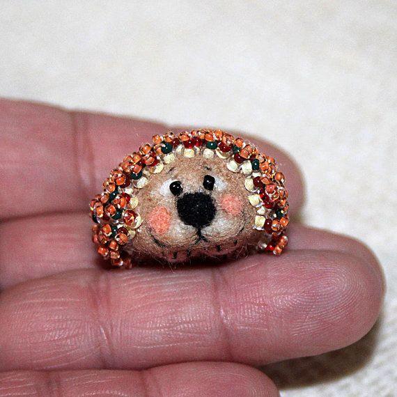 Miniature needle felted yellow autumn hedgehog by SecretFriends