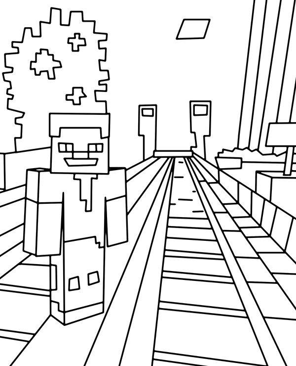 Minecraft Trainstation Coloring Page Minecraft Coloring Pages Coloring Pages Coloring Pages For Boys
