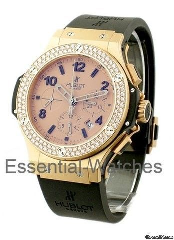 Hublot Rose Gold Mat Big Bang 2 Row Diamond Bezel - Rose Gold Mat Case on Strap with Gold Mat Dial