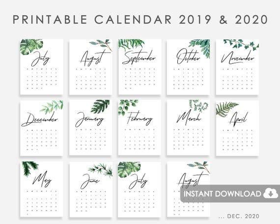 2019 2020 Calendar Printable Calendar Watercolor Greenery Green