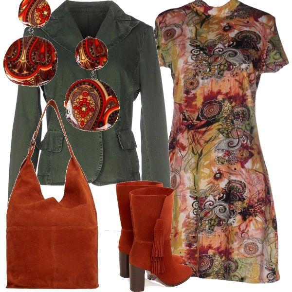 E' tempo di indossare gli stivali: qui ne vengono proposti un paio color arancio, della stessa tonalità della borsa a tracolla, indossati sotto un vestito a manica corta di una bella fantasia astratta e un giubbotto di jeans verde scuro. Un tocco di luce con gli orecchini che richiamano la fantasia del vestito.