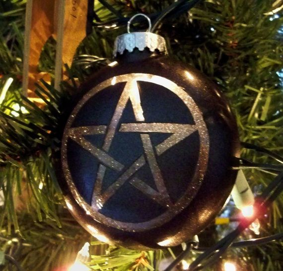 All I Want for Christmas is Yule Pentacle Light Up Ornament Glass Electronic Glow in the Dark Goth Gothic Horror Gift Nightmare Ghosts Witchcraft Voodoo