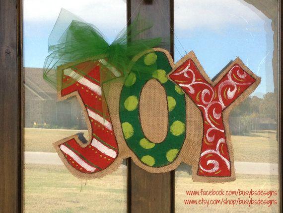 Christmas Burlap Door Hanger by BusyBsDesigns on Etsy, $35.00