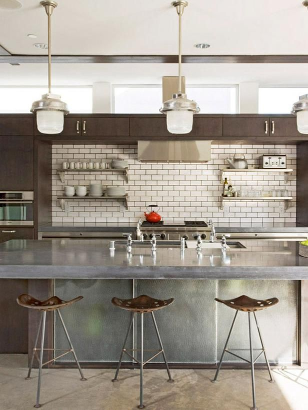 Metro Tiles look great in this Industrial Modern Kitchen