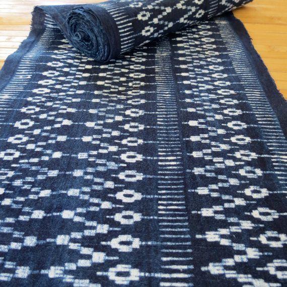 Hmong cotton-Indigo Batik fabric textiles and by tribalcollection