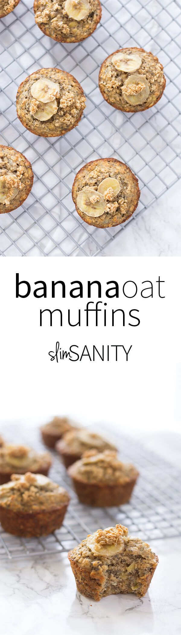 This healthy banana oat muffins recipe is made with reduced flour and reduced sugar. They make for the perfect filling snack or breakfast on-the-go!