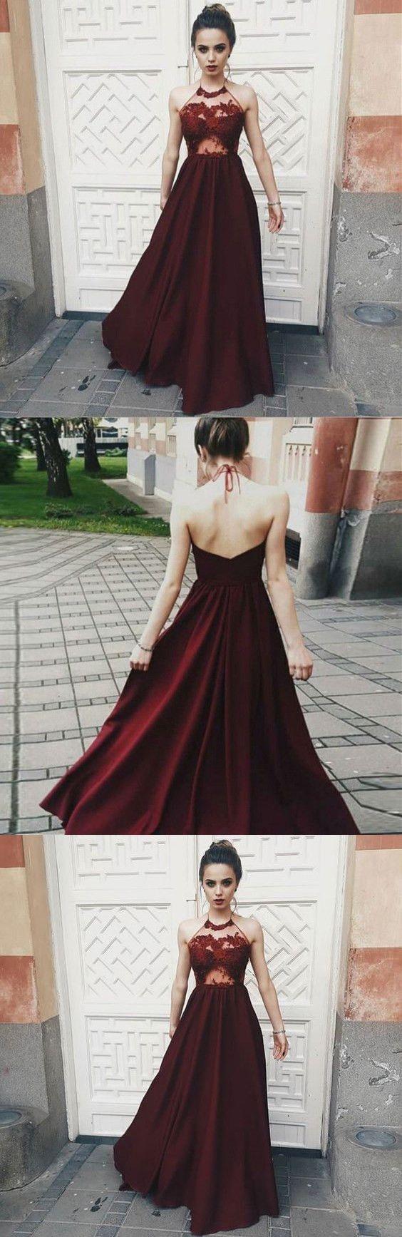 Opening back sexy prom dress dark red illusion bodice halter long