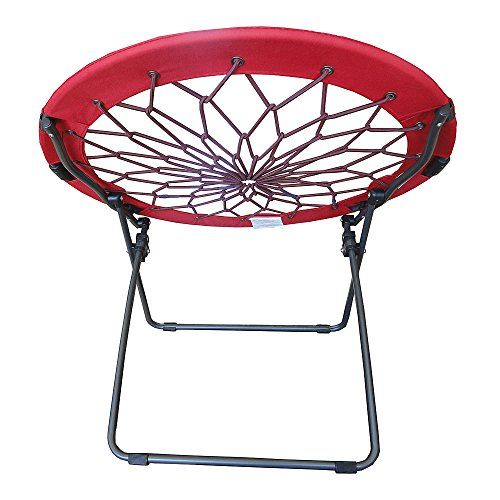 Round Bungee Chair Red Folding Comfortable Lightweight Portable Indoor  Outdoor Use The Bunjo Chair Is A Durable Steel Frame Fitted With Netted Bungee  Cords ...