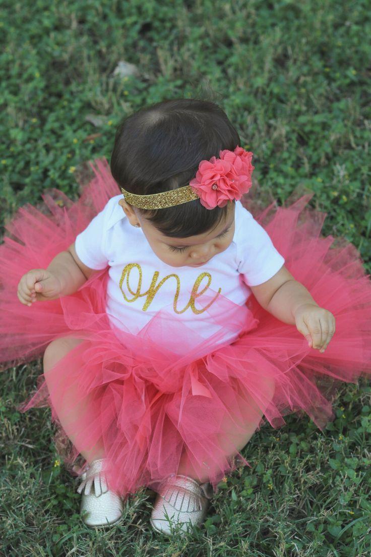 First Birthday Outfit Girl...Birthday Tutu Outfit...Coral and Gold First Birthday Outfit...Coral Tutu Bodysuit Headband Set...1st Birthday by SweetChubbyCheeks on Etsy www.etsy.com/...