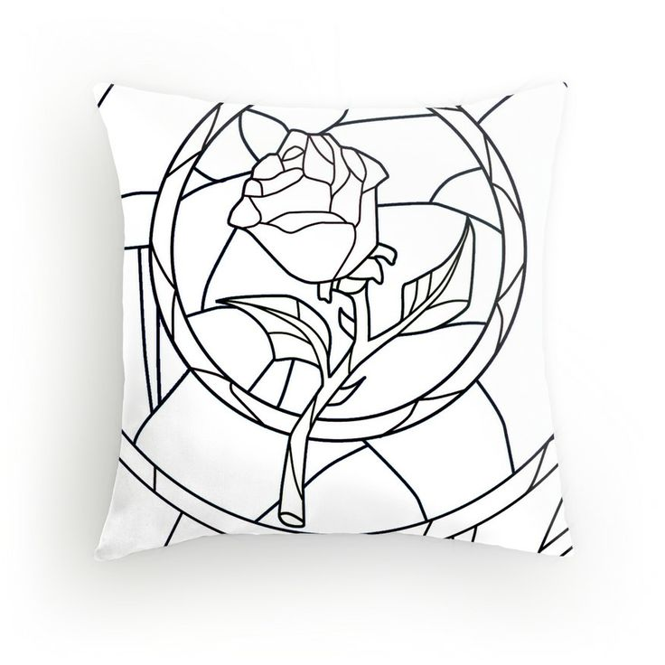 Stained Glass Rose White Throw Pillow - Available Here: http://www.redbubble.com/people/rapplatt/works/9399058-stained-glass-rose-white?p=throw-pillow