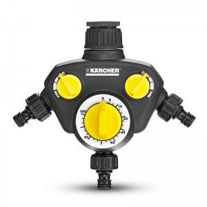 The Karcher Watering Clock WT 2 is a 3-way distributor in one. The watering stops automatically once the selected time has lapsed (max. 120 minutes). A G1 tap connector and G3/4 reduction piece is included.