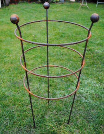 Large strong solid iron three ring peony plant support  1 Metre overall height (Sible Hedingham)