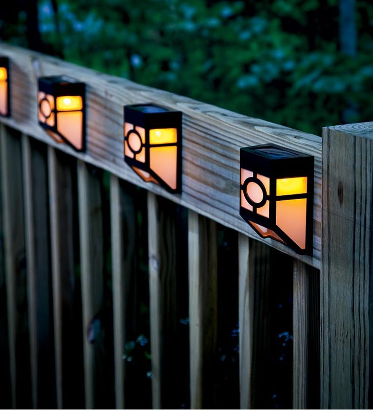 Mission-Style Solar Deck Accent Lights, Set of 4 (Plow & Hearth) My new obsession is the front porch. I'm thinking of some of  these on the inside of the porch. Some light, but not enough to draw bugs, I hope.