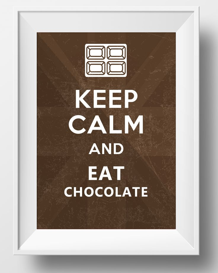 Funny Quote , Keep Calm and Eat Chocolate , Typography Artwork , Digital Download
