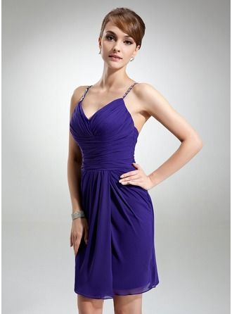 Sheath/Column V-neck Knee-Length Chiffon Cocktail Dress With Ruffle Beading