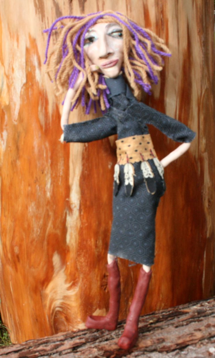 """Meet Cachee  ooak art dolls made by hand out of Polymer Clay,naturally dyed textile art for """"The Other-Side presents That Wall"""".by Laura Balducci"""