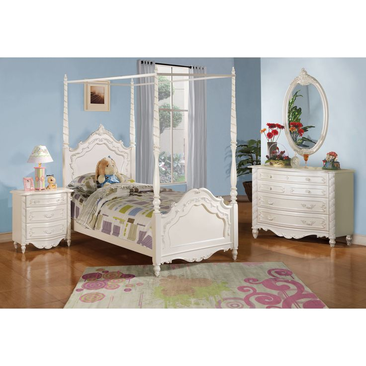 Acme Furniture Pearl 5 Piece Canopy Bedroom Set In Pearl White (Full),  Beige Off White