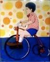 $2000 Felipe y su triciclo rojo. Acrylic and other mediums. 50x.60