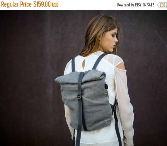 Xmas sale 20% Bond Cotton Canvas & Leather by CyanByMiriWeiss