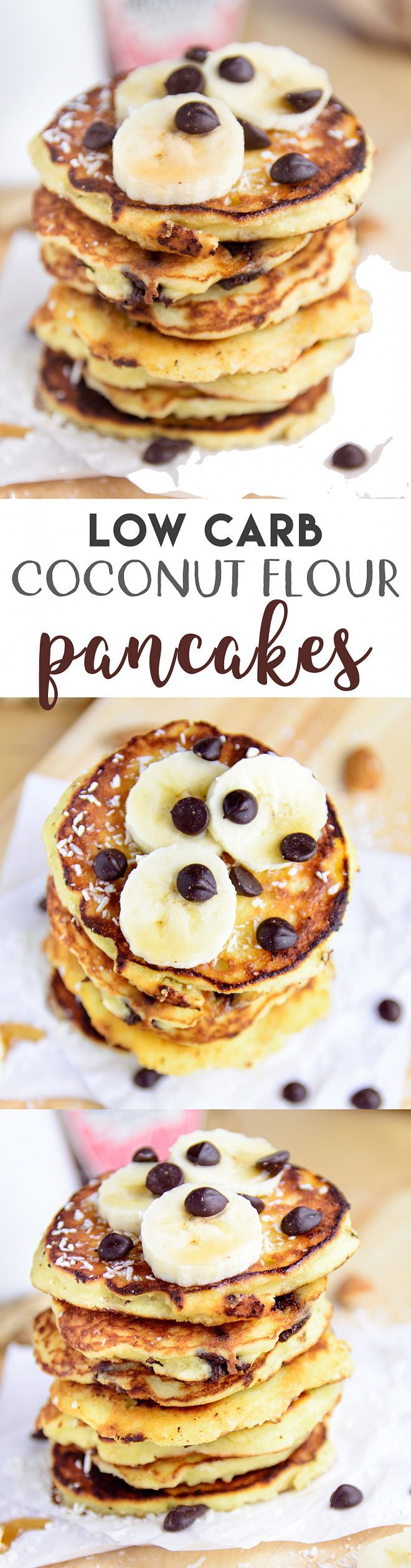 Easy, fluffy and delicious low carb coconut flour pancakes that could make a filling and healthy breakfast treat! { #glutenfree, #lowcarb, #sugarfree} | myzucchinirecipes.com