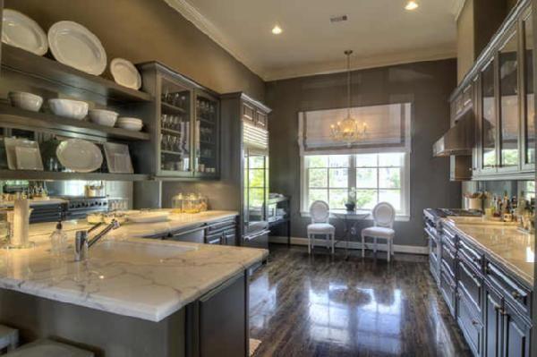 kitchen cabinets, calcutta gold countertops, gray kitchen cabinets