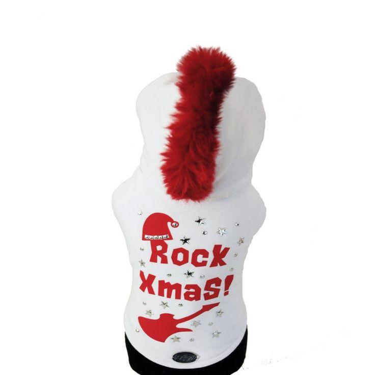 Rock Xmas White - Let's have a Rock #Christmas day! #dog #pull with red details | Dai, facciamo un Natale Rocà. Felpa per cani con dettagli rossi