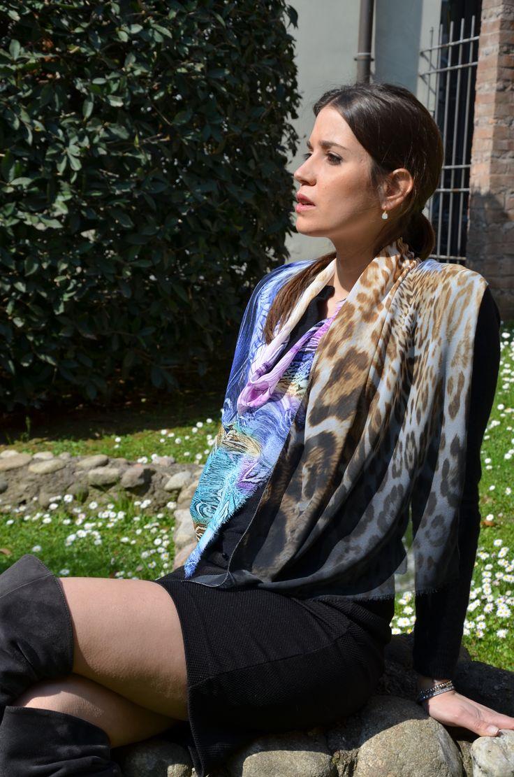 Silk shawl animal printed #marinafinzicollection #spring2016 #silk #