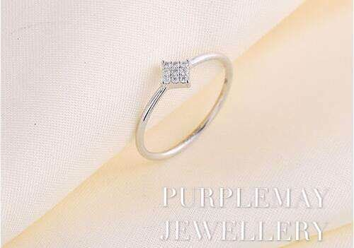 Square Diamond Ring  18K White Gold