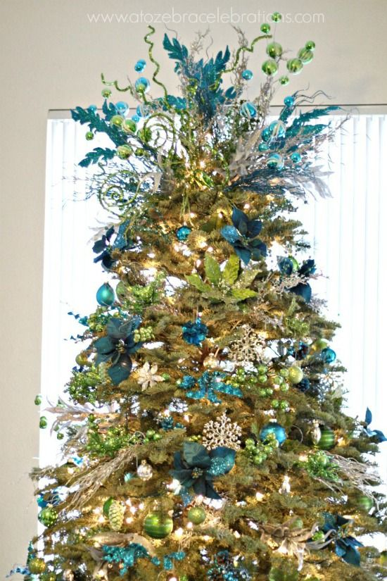 Peacock Lime and Turquoise Christmas Tree from A to Zebra Celebrations plus 31 Christmas Tree Patterns and Colorful Designs on Frugal Coupon Living.
