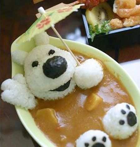 Rice dog bathing in curry!