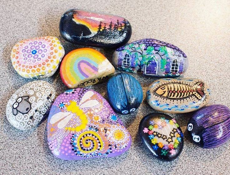Collection of stones I painted for a rock drop