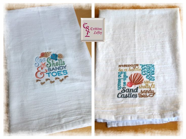 Sand Castles Sea Shells and Sandy Toes  Embroidered Flour Sack Towels Set of 2 by Cr8tiveLefty on Etsy. Made in the U.S.A.