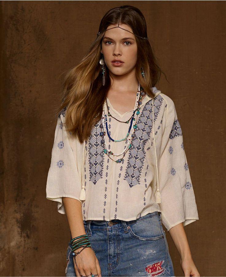 Denim & Supply Ralph Lauren Top, Dolman-Sleeve Embroidered Peasant - Tops - Women - Macy's