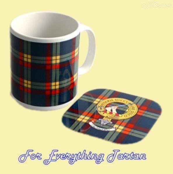 Clan Tartan Badge Ceramic Mug And Wooden Coaster Gift Set by JMB7339 - $35.00