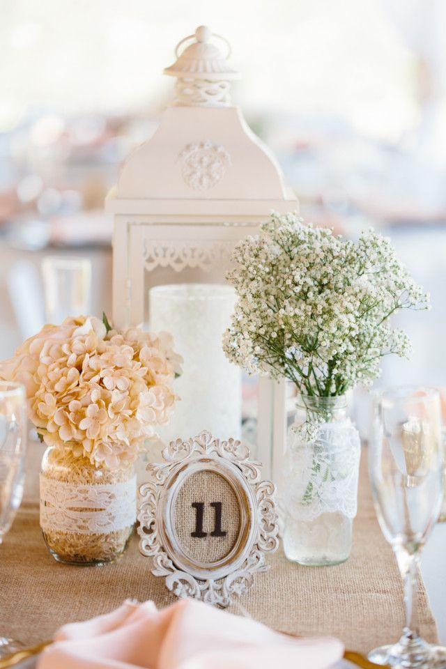 rustic, romantic reception decor for a barn wedding / http://www.deerpearlflowers.com/lantern-wedding-centerpiece-ideas/2/
