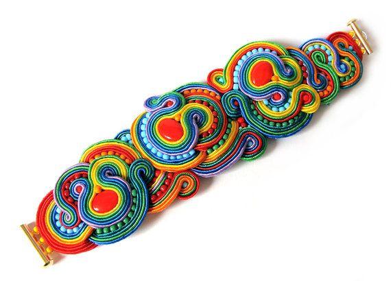 Bracelet RAINBOW soutache statement Anniversary gift by SaboDesign