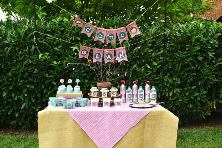 Camping theme party for a girl - Camp Glam!: Girls Glam Camps Parties, Camps Theme Parties, Birthday Parties, Camps Birthday, Parties Ideas, Girls Camps Parties, Camps Glam, Glamping Parties, Birthday Ideas