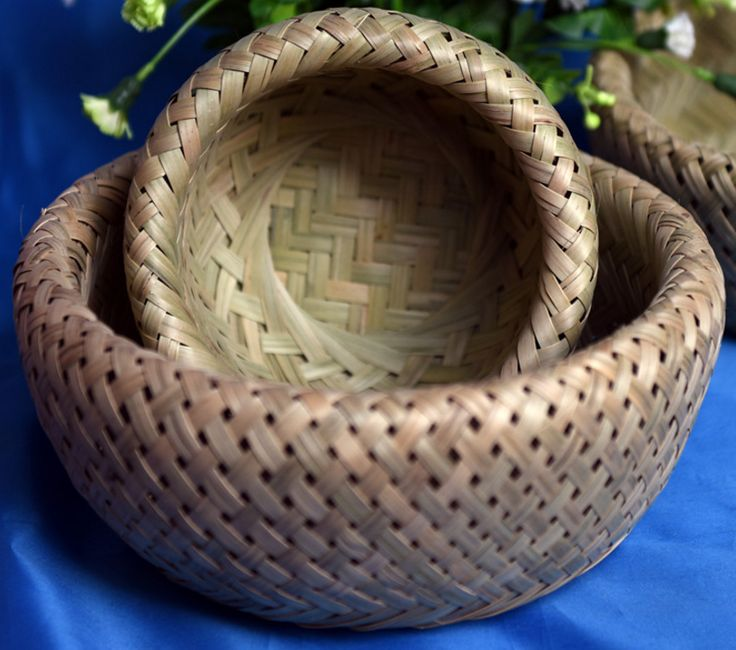 Rounded Woven Bamboo Baskets