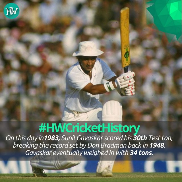 #HWCricketHistory , Sunil Gavaskar​ held the record of 34 Test centuries for almost two decades before it was broken by Sachin Tendulkar​ in December 2005.  #INDvENG #india #gavaskar
