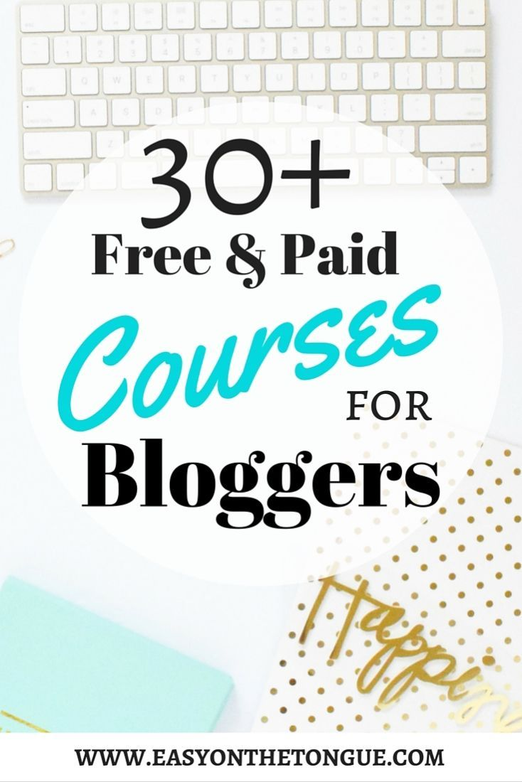 Get the list of free and paid courses offered by bloggers to bloggers.  These courses will help you get started on your blogging journey and beyond! www.easyonthetongue.com