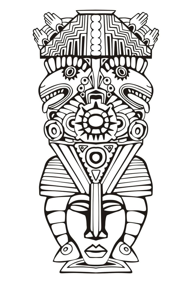 Adult Coloring Pages Mayan Mask