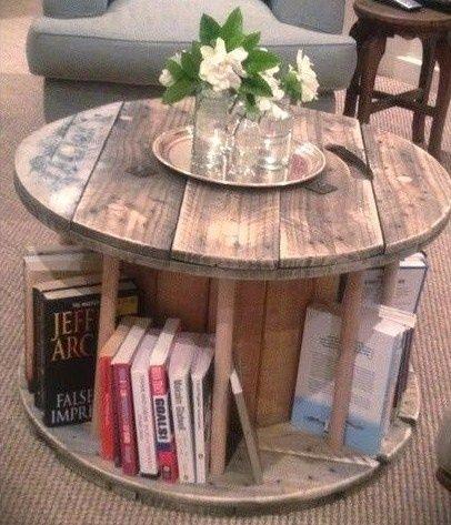 Détournement touret bois en table bibliothèque