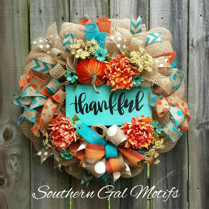 Turquoise & Orange Thankful Fall Wreath