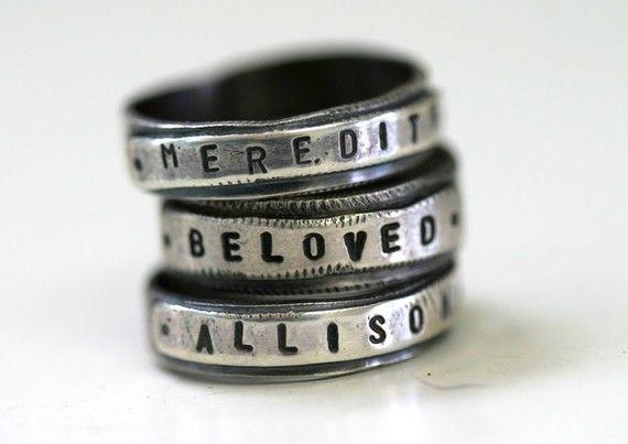 Custom Stamped Personalized Name Band Ring in sterling silver by monkeysalwayslook monkeys always look